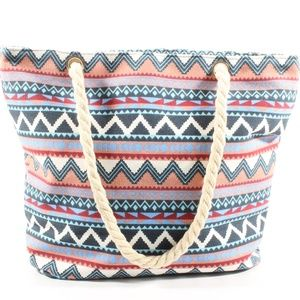 Womens Tote Canvas Printed Rope Handle Bag NEW
